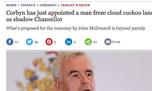 The Telegraph's amended headline on its John McDonnell story