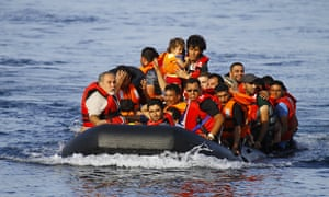 Refugees approach Lesbos