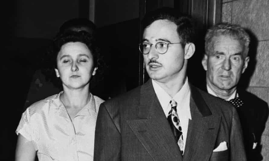 Julius and Ethel Rosenberg leaving federal court after being indicted on charges of espionage.
