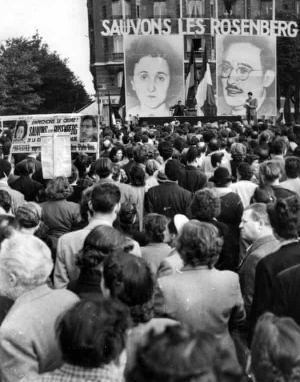 A 1953 demonstration in Paris, calling for the pardon of the Rosenbergs.