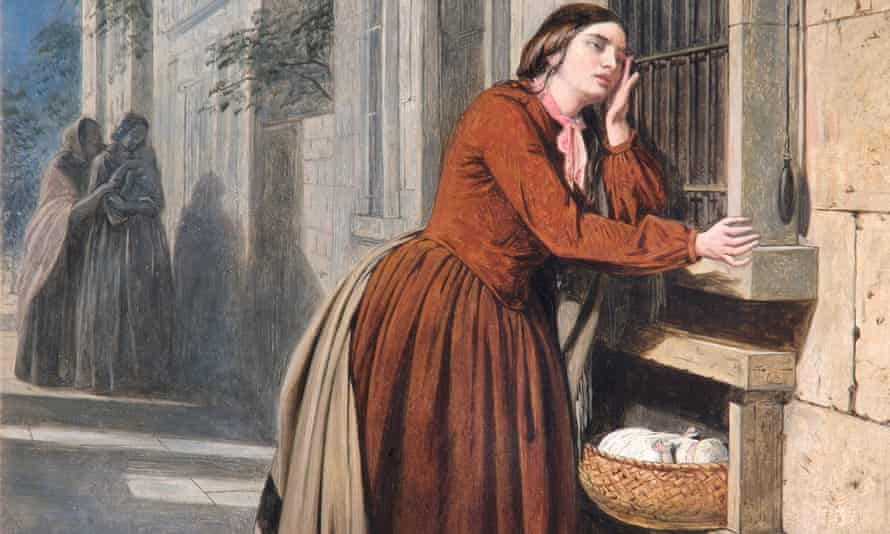 A detail from Henry Nelson O'Neil's 1855 painting A Mother Depositing Her Child at the Foundling Hospital in Paris, on show at the London Foundling Museum's forthcoming exhibition.