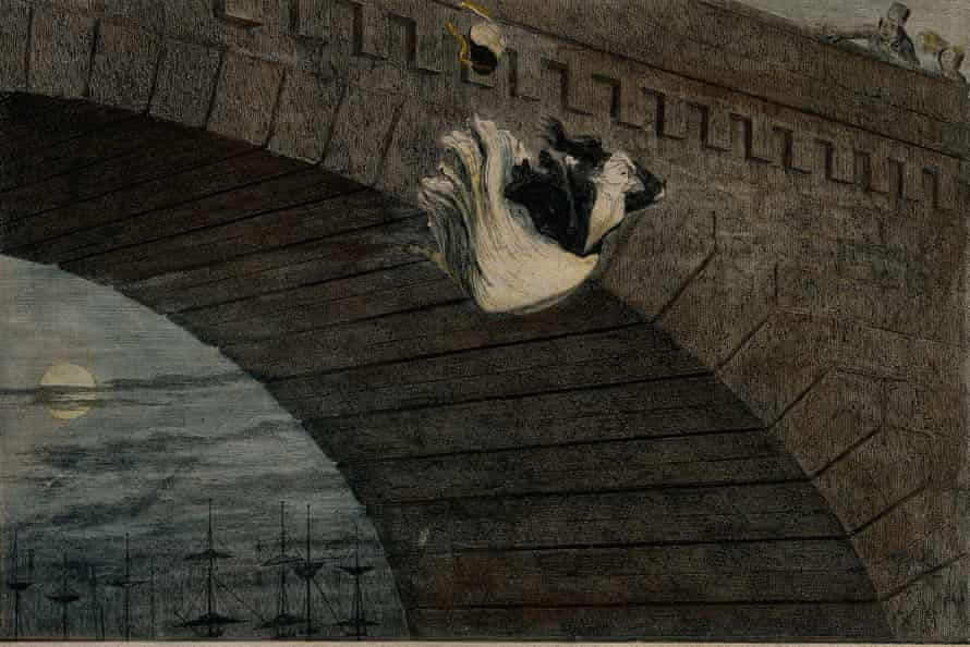 An 1848 etching by George Cruikshank, A destitute girl throws herself from a bridge, which is on show at the Foundling Museum.