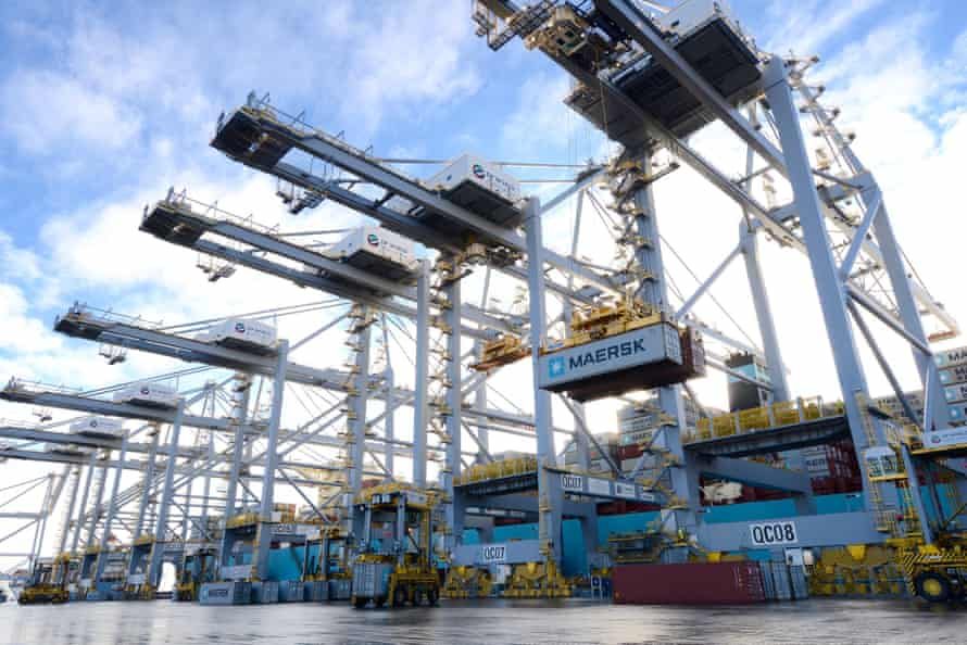 Enormous tandem-lift cranes load and unload containers.