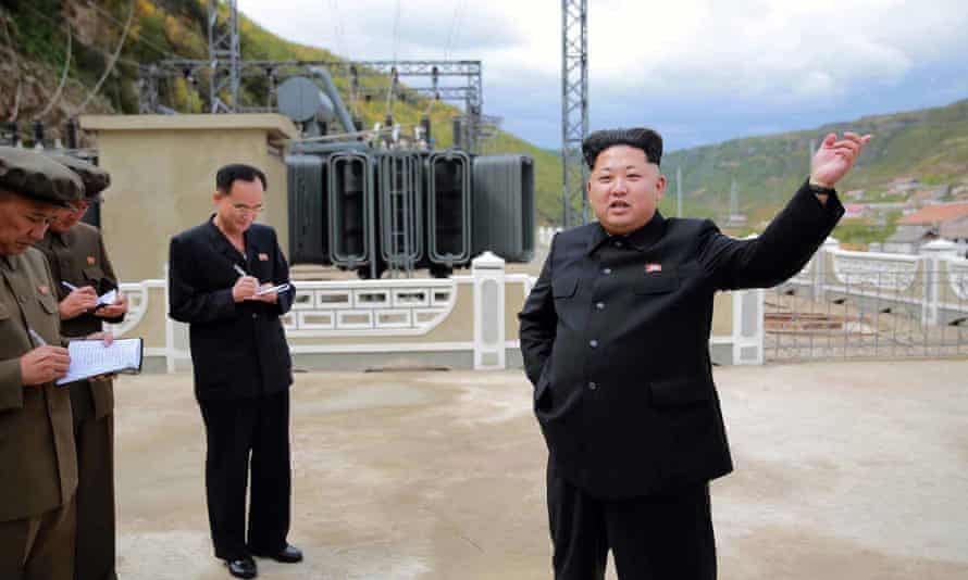North Korean leader Kim Jong-un inspects a North Korea power station contruction site in an undated picture released by KCNA.
