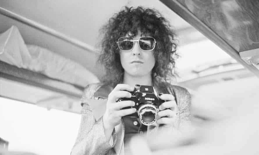 Singer Marc Bolan (1947-1977) on a tour bus in June 1972.
