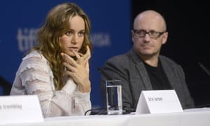 Brie Larson and Lenny Abrahamson at the press conference for Room