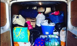 The back Edinburgh University Students' Association's van loaded with donations.