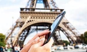 A smartphone in Paris
