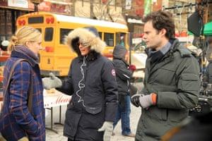 Greta Gerwig, left, Rebecca Miller and Bill Hader filming Maggie's Plan in New York last February.