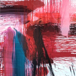 Sam Smith, untitled pour painting red no 15.