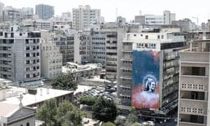 Halwani's new mural of the Lebanese singer and actress Sabah, in Beirut's Hamra neighbourhood.