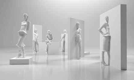 3D rendering of a fashion exhibition with models coming out of walls
