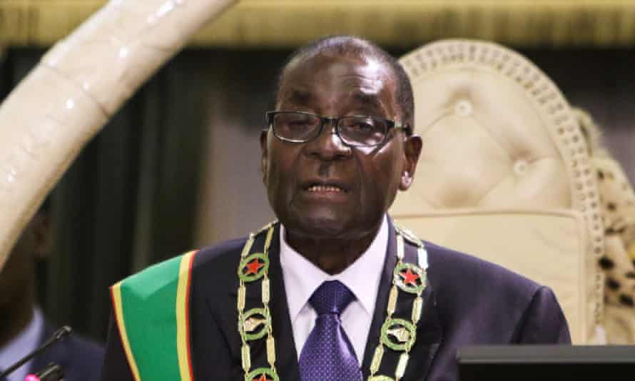 Say it again, Sam ... Mugabe delivers the wrong speech to the Zimbabwean parliament.