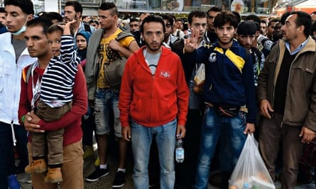 Refugees at the railway station in Munich, Germany