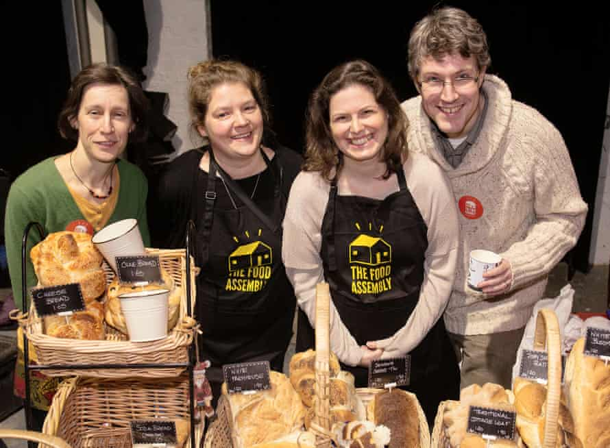 The Food Assembly Frome organisers Pia McGee and Lindsay Downes (centre), with Jackie Adkins and Liam McGee.