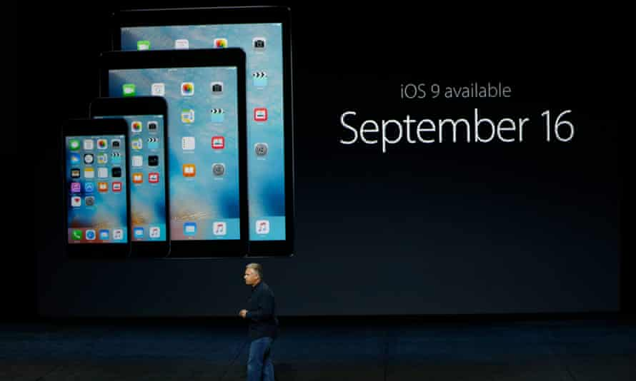 Apple Senior Vice President of Worldwide Marketing Phil Schiller launches iOS 9 during a Special Event at Bill Graham Civic Auditorium September 9, 2015 in San Francisco, California.