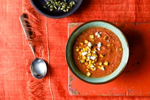 Autumnal magic: red kidney bean soup with charred corn, feta and pumpkin seeds.