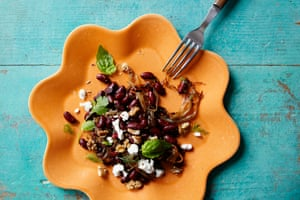 Add stock and crush the beans to add flavour or add more feta for body: red kidney beans and caramelised shallots salad.