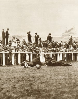 Emily Davison's fatal protest at the Derby on 4 June 1913.