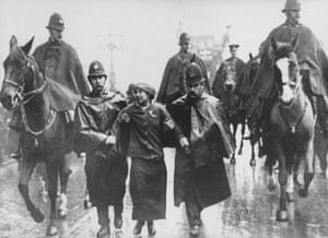 Sylvia Pankhurst being taken into custody by police during a 1912 suffrage protest in Trafalgar Square.
