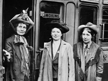 From left: Emmeline Pankhurst with daughters Christabel and Sylvia at Waterloo station, London, 1911.