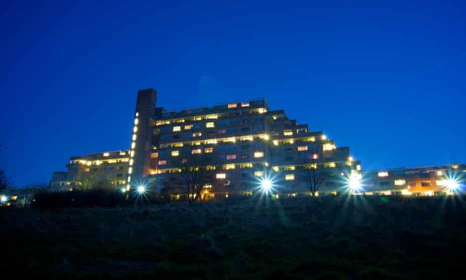 Dawson's Heights, a block of flats in East Dulwich, south-east London, at night. Image shot 2009.