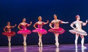 Chase Johnsey (Yakaterina Verbosovich), right, in Paquita  by Les Ballets Trockadero de Monte Carlo @ Peacock Theatre
