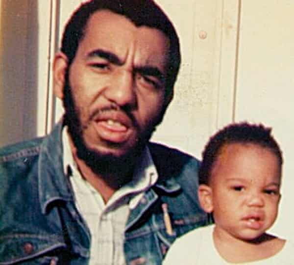"""Coates with his father Paul. """"Dad had been a captain in the Black Panther Party""""."""