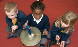 Young children learn to play percussion instruments in primary school.