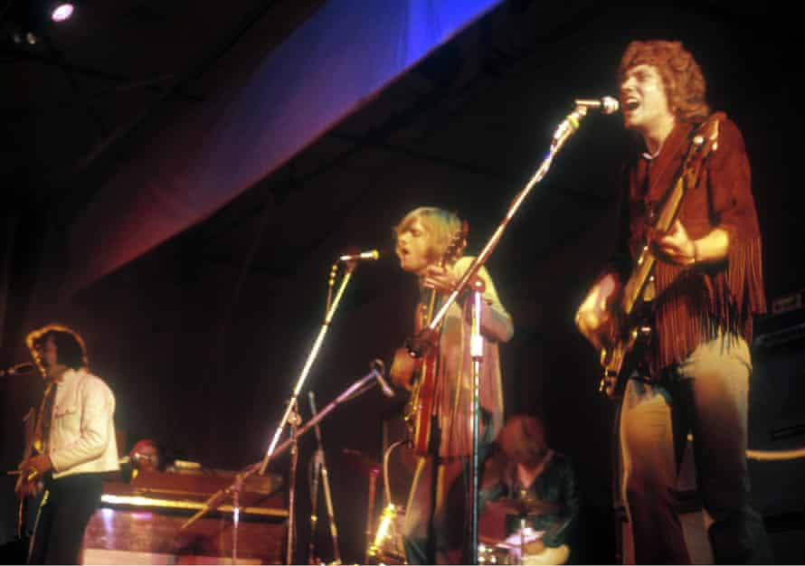 The Moody Blues in 1969; from left: Ray Thomas, Justin Hayward and John Lodge.