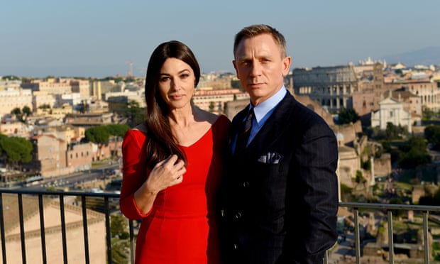 Bellucci and Daniel Craig on the set of Spectre.