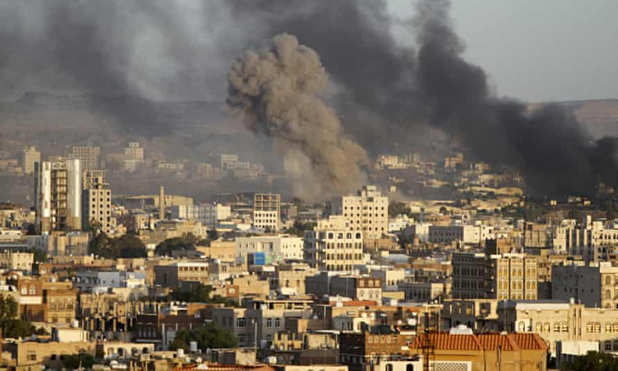 Smoke billows from a building in Yemen's capital Sana'a after a Saudi-led air strike