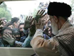 Iran's Supreme Leader Ayatollah Ali Khamenei waves to the crowds during a visit to the southern city of Shiraz, Iran in 2008.