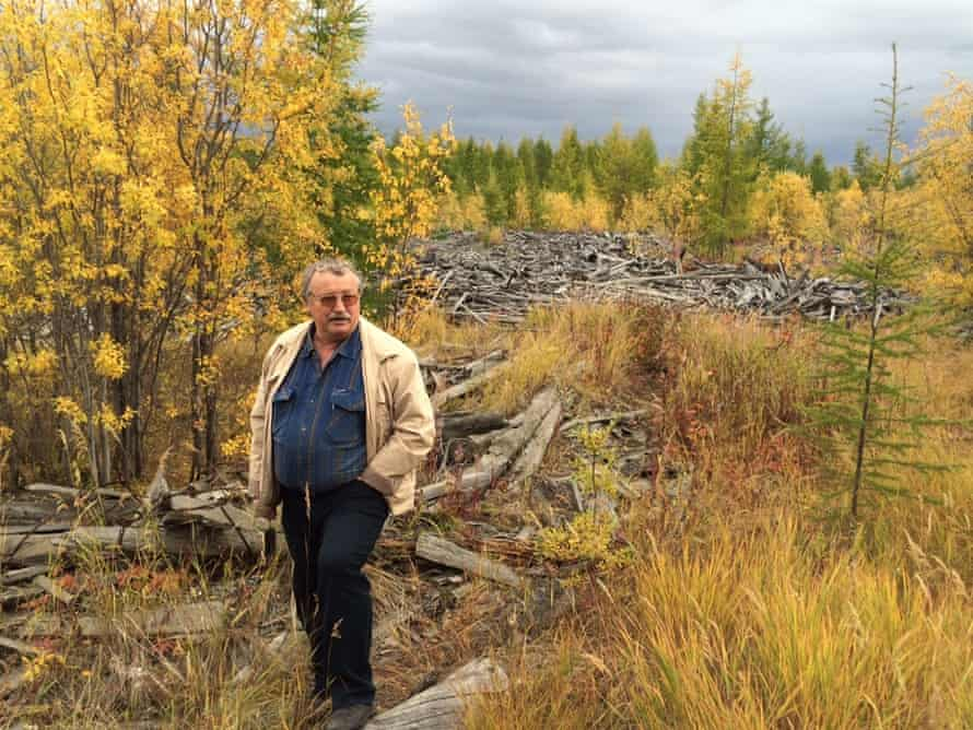 Ivan Panikarov by the ruins of the Elgen labour camp for women
