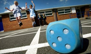 Pupils in playground of primary school