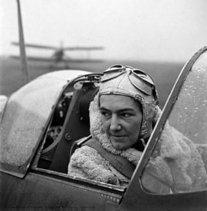 Polish pilot Anna Leska in a Spitfire at White Waltham air field, England, 1942