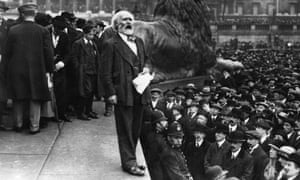 Keir Hardie at a Suffragettes' free speech meeting in London in 1913.