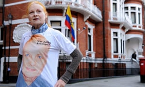 Westwood outside the Ecuadorian embassy in London