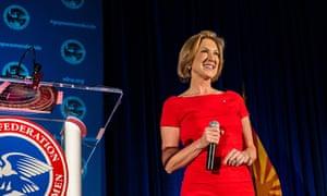 US Presidential candidate Carly Fiorina speaks in Phoenix
