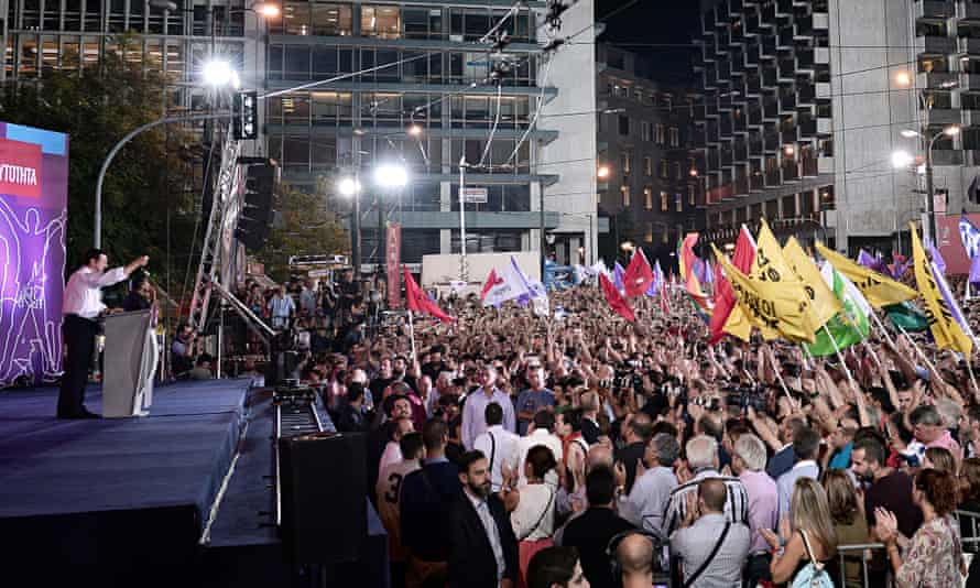 Syriza leader Alexis Tsipras addresses a rally in Athen's Syntagma Square last Friday.