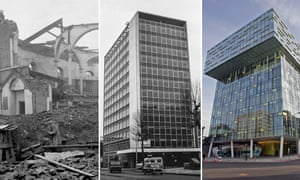 London Blitz Blackfriars composite: The Ring bombsite, Orbit House in the 1960s and the current Palestra Building.
