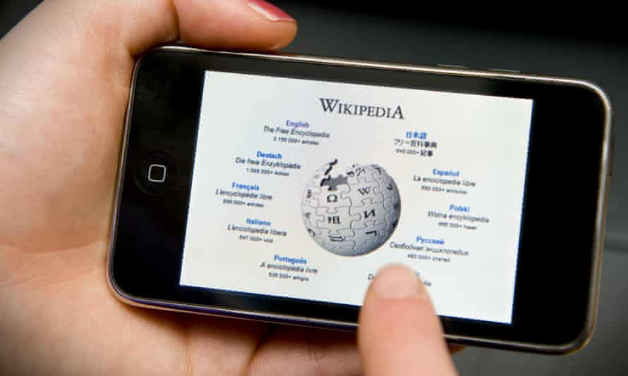 Wikipedia website accessed on an Iphone