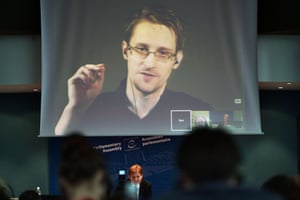 Edward Snowden talks via video link from Russia to a parliamentary hearing at the Council of Europe in Strasbourg, June 2015.