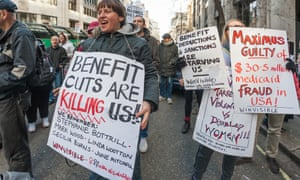 Protesters outside the Department of Work and Pensions in London protest in March against US firm Maximus, which runs controversial fit-for-work tests on behalf of the UK government.