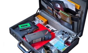 1980's briefcase and contents including Cityman Mobira mobile phone ,VHS cassette, Eagles CD