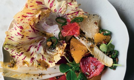 Three citrus salad with green chilli, stem ginger and crunchy salsa