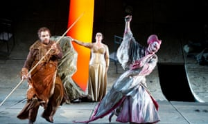 Stuart Skelton (Parsifal), Jane Dutton (Kundry) and Tom Fox (Klingsor) in ENO'S Parsifal at the London Coliseum, directed by Nikolaus Lehnhoff