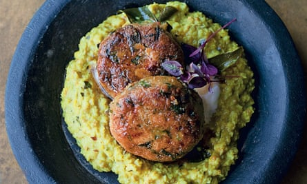 Yotam Ottolenghi's spiced chickpea patties with coconut and curry leaf paste