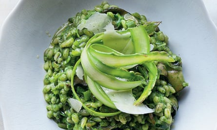 Yotam Ottolenghi's pearl barley risotto with watercress, asparagus and pecorino