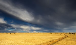 Storm clouds gather over the Canadian prairieland.